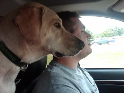 Bailey and his daddy on our way to NC